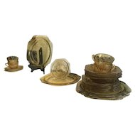 20 Piece Place Set of Dishes Amber Depression Glass Madrid Pattern