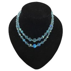 Stunning Mid Century Two Strand Aurora Borealis Turquoise Blue Necklace