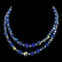 Stunning Two Strand Mid Century Aurora Borealis Dark Blue and White Necklace