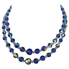 Stunning Two Strand Mid Century Aurora Borealis Dark Blue and White Necklace