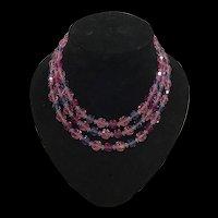 Beautiful Rare 1950s Three Strand Aurora Borealis Vibrant Pink Purple and Magenta Necklace