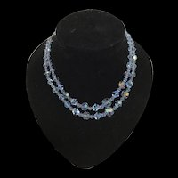 Stunning 1950s Two Strand Aurora Borealis Baby Blue Necklace Mid Century
