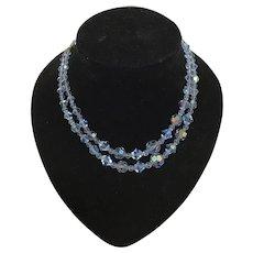 Stunning 1950s Two Strand Aurora Borealis Baby Blue Necklace Mid Century