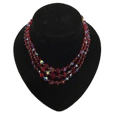 Gorgeous Mid Century Three Strand Aurora Borealis Ruby Red Necklace