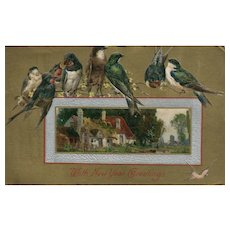 Winsch Gathering of beautiful Birds on Branch New Year Postcard