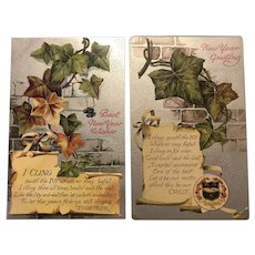 Set Of Two Clapsaddle Silver Metallic Ivy Leaf New Year Greetings Postcard