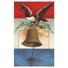 1908 Patriotic Fourth of July Eagle with cracked Liberty Bell Postcard