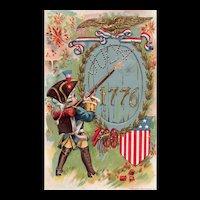 1906 Fourth of July 1776 P Sanders Patriotic Vintage Postcard