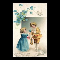 Early Ellen Clapsaddle Children with blue flowers and dress Signs of love