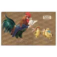 Rooster Music Conductor orchestrating three chicks singing Vintage Easter Postcard