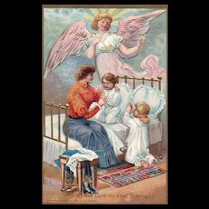 """""""Pray the Lord my Soul to keep"""" Guardian Angel watches Prayers Vintage Postcard"""