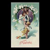 Adorable vintage Easter Dressed Bunny Rabbits Served eggs by Angel Postcard