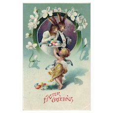 Adorable vintage Easter Dressed Bunny Rabbits Served eggs by Angel Postcard