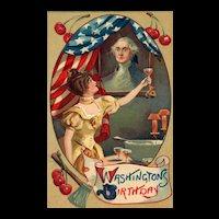 Wonderful George Washington Birthday Patriotic Postcard