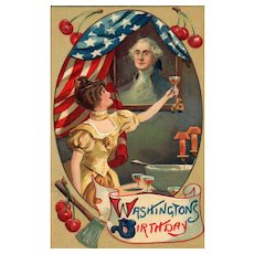 Wonderful George Washington Birthday Patriotic Postcard