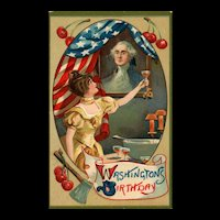 Beautiful Washington's Birthday vintage patriotic postcard