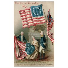 Betsy Ross making the first Flag Decoration Day  Patriotic Memorial Day Vintage postcard