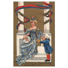 Artist Signed HBG Patriotic Miss Columbia Holds World George Washington Favorite Son