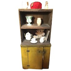 Vintage Antique Primitive Tramp Art Mustard Yellow Child's Cupboard Doll Cabinet