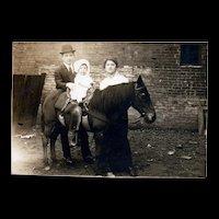 Early 1900's Real Photo baby on Horse Pony Family