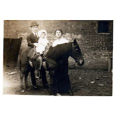 Early 1900's Real Photo baby on Horse Pony Family