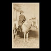 1920's Real Photo Adorable Child on POny