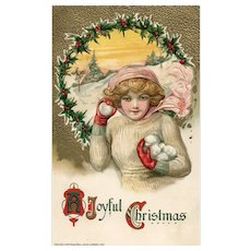 John Winsch Schmucker Christmas Beautiful woman throwing snowballs