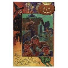 Nash Halloween Series No 4 Wishing You a Jolly Halloween Green Cat Witch Postcard