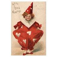 Scarce Ellen Clapsaddle Valentine Clown With Loves Greeting - Vintage Postcard