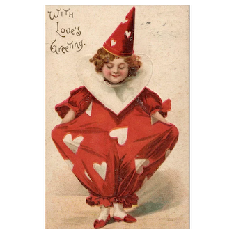 Scarce Ellen Clapsaddle Valentine Clown With Loves Greeting - Vintage Postcard