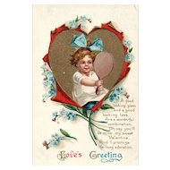 Garre Clapsaddle Vintage Valentine Postcard Love's Greeting
