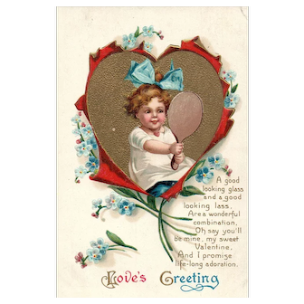 Garre Clapsaddle Vintage Valentine Postcard Love's Greeting