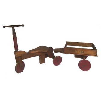 Vintage Toy Wooden Scooter with Wagon