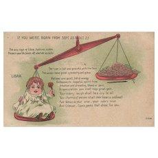 Libra Zodiac Sign Vintage Postcard Sept 23 to Oct 23 Horoscope Vintage postcard