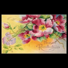 Pleasant Recollections beautiful Spring Floral Vintage Postcard