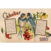 1910 New Year Calendar vintage postcard with blue birds and pansies
