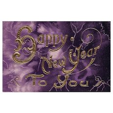1911 Vintage New Year postcard with elegant deep purple and gold design Embossed