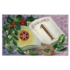 Samson Brothers Series 7046 Vintage New Year Postcard Gold Gilt embossed with Gloss finish