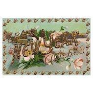 1910 Gold gilt gel embossed Vintage New Year Postcard