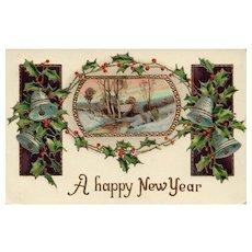1910 Elegant gold Gilt Gel vintage New Year Postcard
