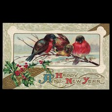 Happy New Year 3 Birds on a branch Embossed Stecher Series 222 F