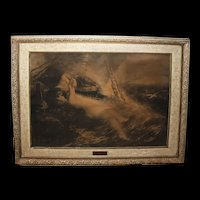 "1889 Charcoal on Silk Art ""Kiss of The Siren"" Artist Signed Patton CW Post Cereal Magnate"