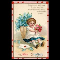 Love's Greeting Valentine's Day Vintage Postcard Little Girl Holding Out a Bouquet of Roses
