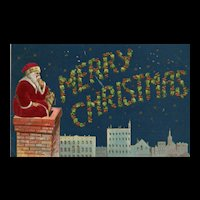 Navy Blue Winter Star Sky with Red Robed Santa Claus Looking at the City in a Chimney Christmas Postcard