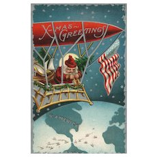 Patriotic Santa Claus flying in a balloon zephyr over the world