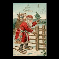 Gold Gilt Red Robed Santa Claus Snowshoeing in the Snow Merry Christmas Postcard