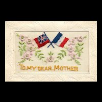"""Beautiful Silk patriotic  """"To My Dear Mother"""" Mother's Day Vintage Postcard"""