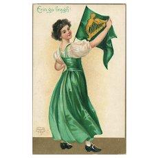 UnSigned Ellen Clapsaddle St Patricks Day Postcard Erin Go Bragh vintage postcard