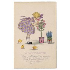 A Happy Easter Vintage Postcard with little girl smelling Roses Chicks