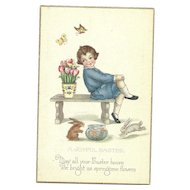 Stetcher Series 903 C Joyful Easter Vintage Postcard boy Tulips Bunny Rabbits